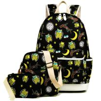 Kemy's Owl Backpack for Girls Set 3 in 1 Cute Printed Bookbag 14inch Laptop Bag for Girls Boys Water Resistant Gifts