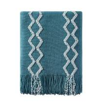 """Bourina Fluffy Chenille Knitted Fringe Throw Blanket Lightweight Soft Cozy for Bed Sofa Chair Throw Blankets, 50"""" x 60"""",Teal"""
