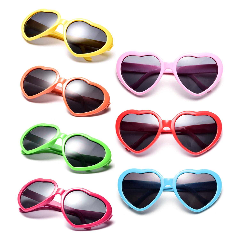 Neon Colors Party Favor Supplies Wholesale Heart Sunglasses (7 Pack Rainbow Set)