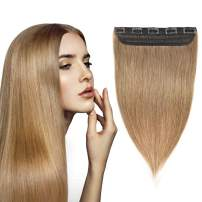 YAMEL Clip in Hair Extensions Human hair Straight Hair Piece 1pcs 5clips 20inch 50g/1.76oz #6 Light Brown