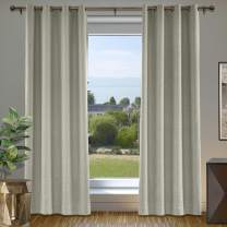 cololeaf Linen Curtains Blackout Room Darkening Linen Curtain Panels 96 Inches Long for Living Room, Heavy Weight Linen Textured Grommet Indoor Draperies, 52 by 96 Inch, Gray (1 Panel)