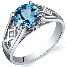 Swiss Blue Topaz Cathedral Ring Sterling Silver Rhodium Nickel Finish 1.75 Carats Sizes 5 to 9