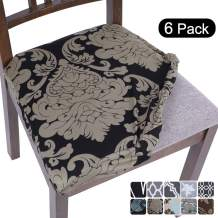 SearchI Stretch Printed Dining Room Chair Seat Covers, Removable Washable Anti-Dust Chair Seat Covers Upholstered Chair Seat Cushion Slipcovers for Dining Room, Kitchen, Office(Set of 6)