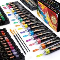 Acrylic Paint Set, Shuttle Art 66 Colors 22ml/Tube with 3 Paint Brushes, Professional Quality, Rich Pigments, Non-Toxic for Artists Beginners and Kids Painting on Canvas Wood Clay Fabric Ceramic Craft