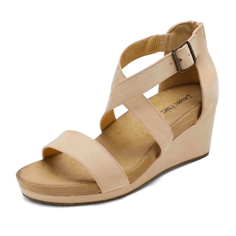 DREAM PAIRS Women's Open Toe Buckle Ankle Strap Summer Platform Wedge Sandals