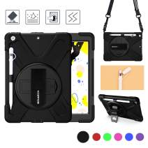 BRAECN iPad 10.2 case 2019,Heavy Duty Rugged Shockproof Case with Pencil Holder/Pencil Cap Holder/Hand Strap/Swivel Kickstand/Shoulder Strap/Expandable Storage Pouch for iPad 7th generation case-Black