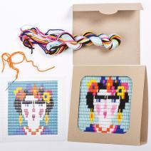 "Sozo - Colorful DIY Needlepoint Embroidery Craft Kit for Beginners. Eco Friendly Package That Turns into a Display Frame, Easier Than Cross Stitch. Size - 8"" x 8"" (Frida)"
