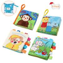 Cloth Books for Babies, Fansteck Baby First Book 4 Pack Early Learning Educational Toy, Peek-a-boo 3D Design with Crinkly Sound, Nontoxic Fabric Materials, Safe and Washable with a Bag Easy to Storage
