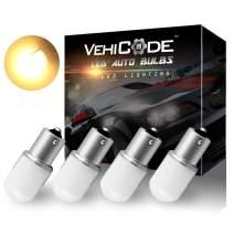 VehiCode Low Voltage 12-24v 1156 7506 1141 1073 93 P21W LED Light Bulb (Soft Warm White) BA15S Single Contact for RV Camper Vanity Porch Dome Outdoor Malibu Landscape Deck Pathway Light (4 Pack)
