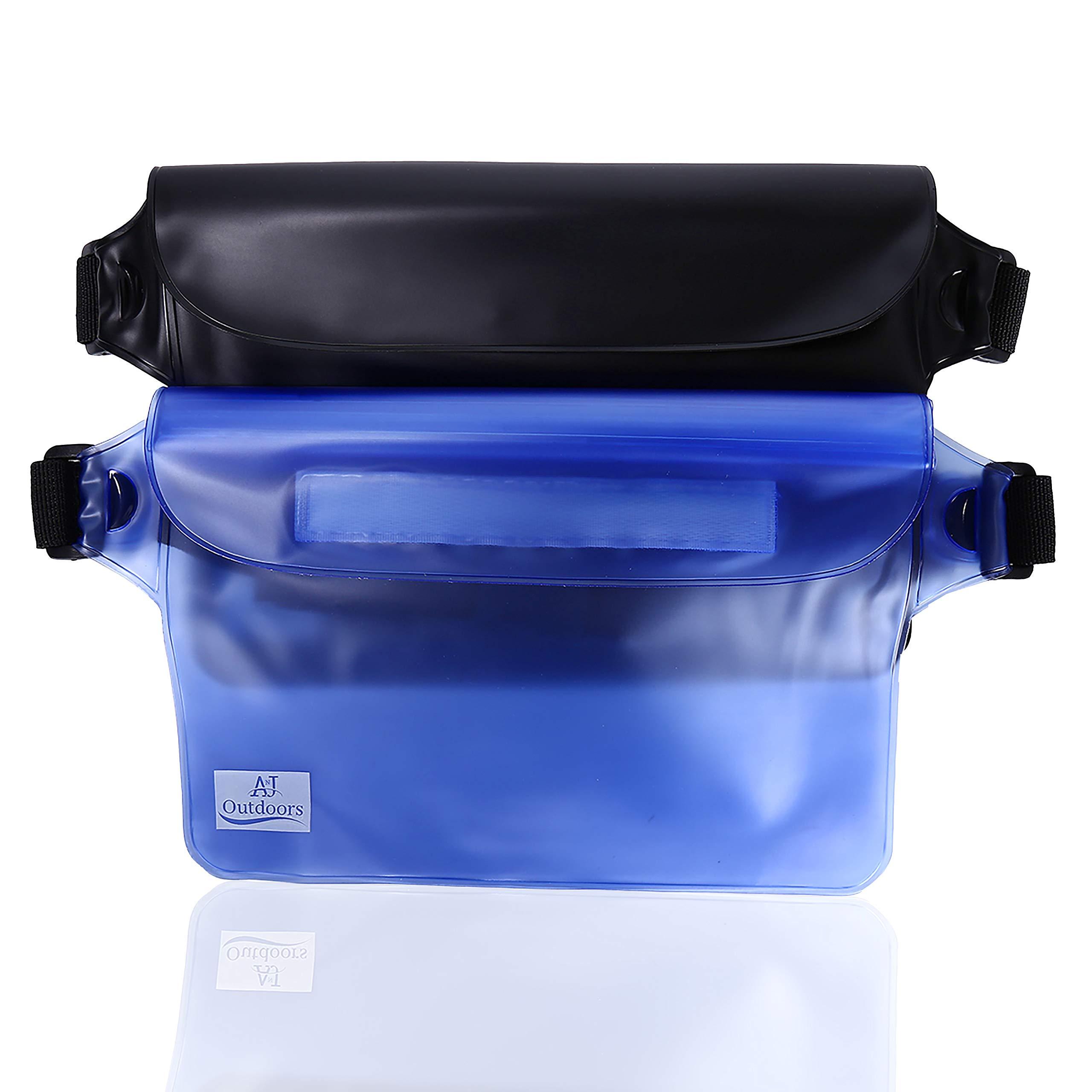 ANJ Outdoors 3-Zipper Design, The Most Durable 2PK Waterproof Pouch/Waterproof Bag   Adjustable Waist Strap   Ideal Waterproof Phone Case/Waterproof Wallet for Boating and Fishing…