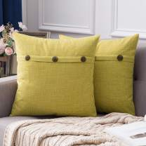 MIULEE Set of 2 Decorative Linen Throw Pillow Covers Cushion Case Triple Button Vintage Farmhouse Pillowcase for Couch Sofa Bed 24 x 24 Inch Chartreuse