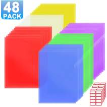 Farielyn-X 48 Pack Clear Document Folder Project Pockets, Clear Plastic Folders Letter Size Plastic Document Folders US Paper Poly Jacket Sleeves Folders Copy Safe, 6 Assorted Colors