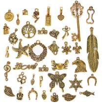 LANBEIDE Wholesale Bulk 50 Gram Antique Gold Assorted Charms Pendants DIY for Jewelry Making and Crafting