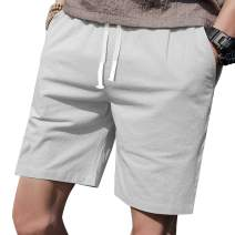"LTIFONE Mens Casual Shorts Elastic Waist 7"" Inseam with Drawstring Slim Fit Summer Pants with Pockets"