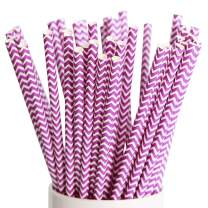 Webake Paper Drinking Straws Chevron Paper Straws Biodegradable 100 Bulk Pack Purple Wave Disposable Straw for Juice, Smoothie, Party, Cake Topper Decoration Purple Striped