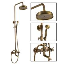 Antique Brass Shower Fixture 8 Inch Rainfall Shower Head with Handheld Spray Dual Knobs Mixer Bathroom Triple Function Double Knobs Shower Combo Set Wall Mount