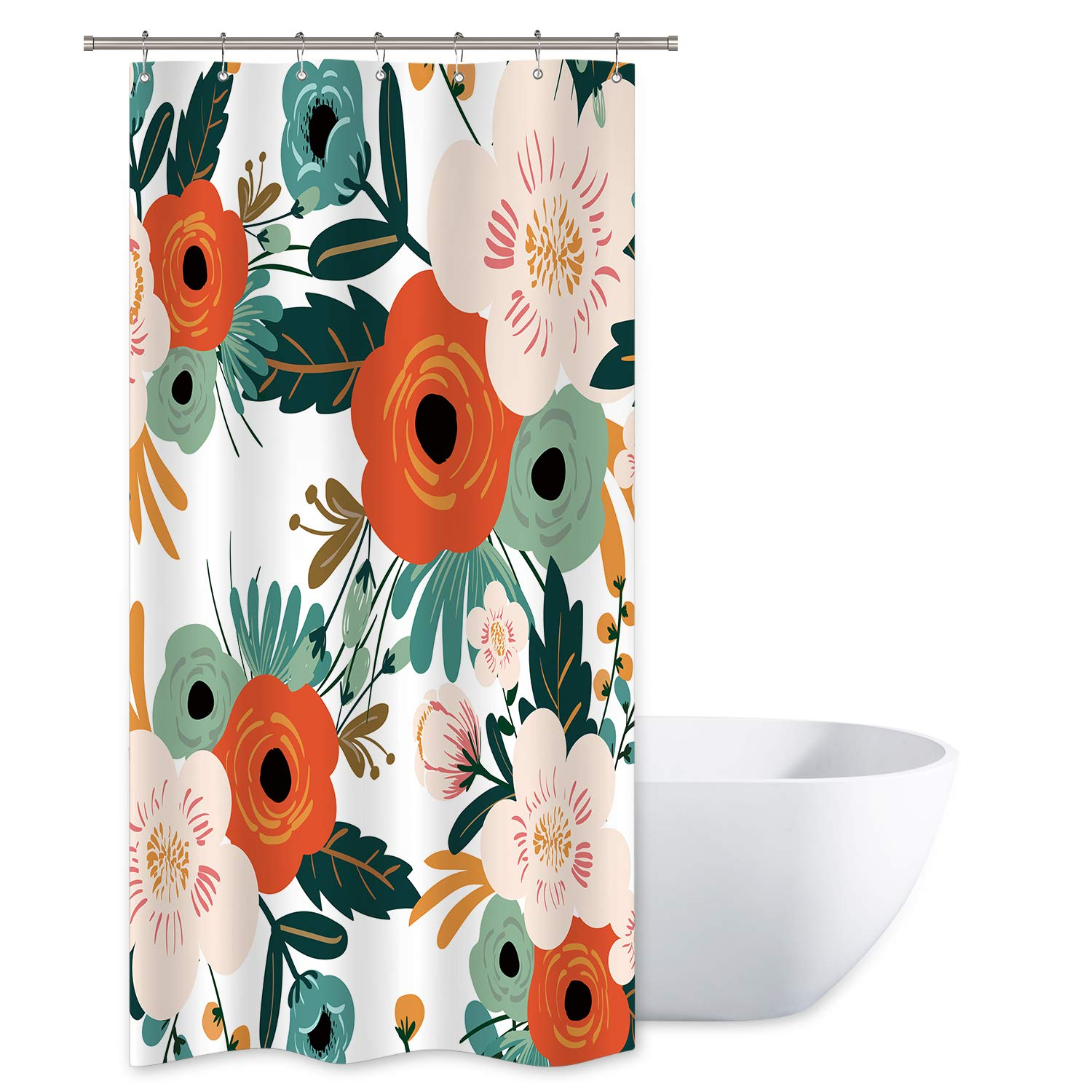 Riyidecor Spring Flower Shower Curtain Set Season Floral Green Bathroom Peony Decor Fabric Panel Polyester Waterproof 36x72 Inch with 7 Pack Plastic Shower Hooks