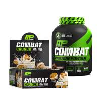 "MusclePharm Combat Crunch Protein Bars, Cookies ""N"" Cream, pack of 12 & MusclePharm Combat Protein Powder, 4lb, Chocolate Milk"