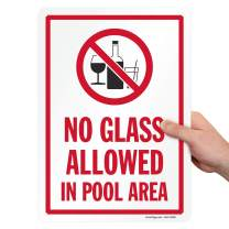 """SmartSign """"No Glass Allowed in Pool Area"""" Sign 