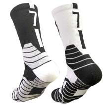 Men's Basketball Socks Mid-Calf Arch Support Breathable Elite Crew Socks for Soccer Hiking