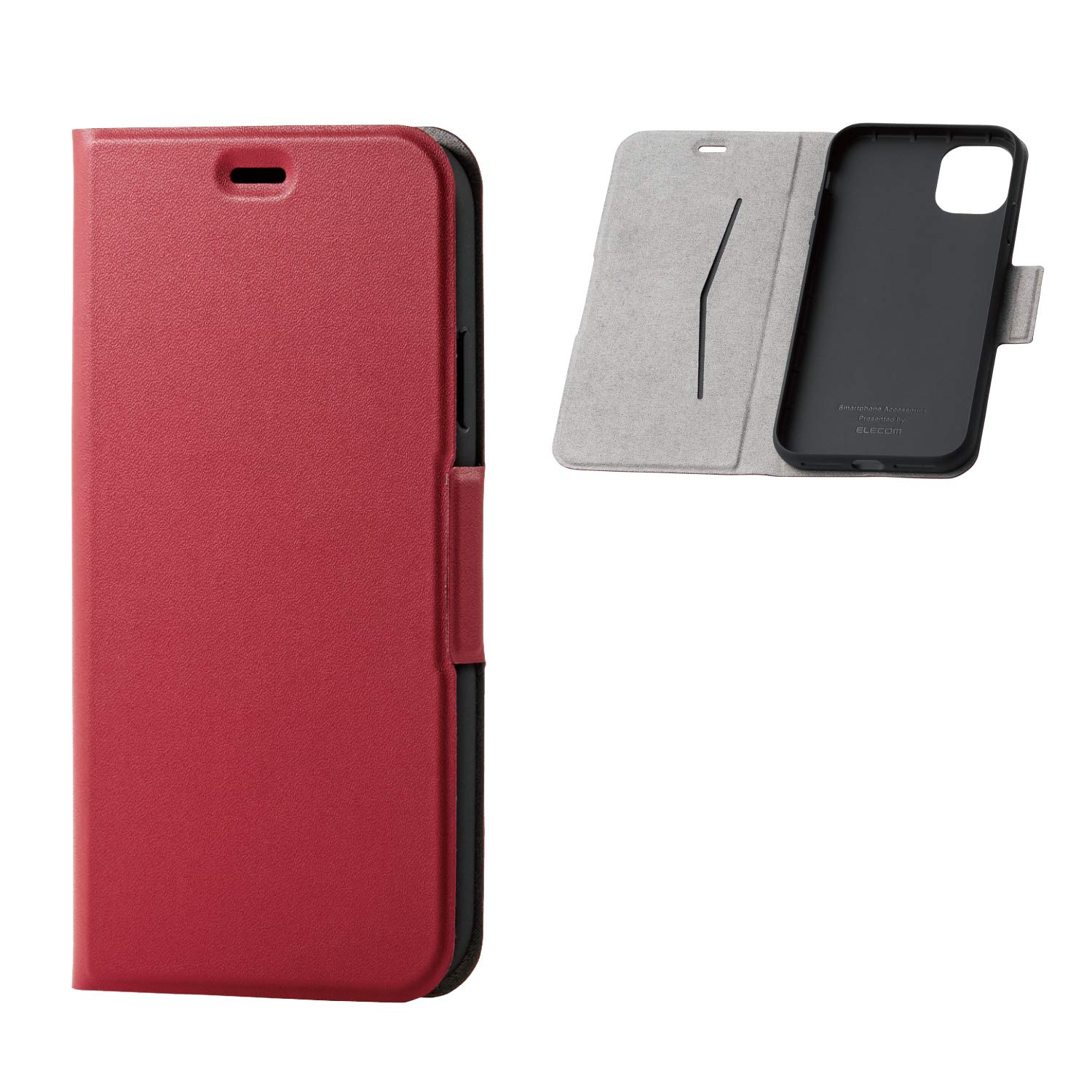 ELECOM-Japan Brand- PU Leather Flip Case Slim and Magnetic Type/Compatible with iPhone 11/ Red/PM-A19CPLFURD