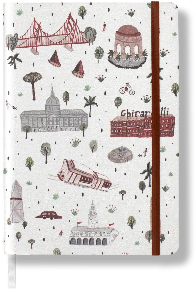 """Minimalism Art, Premium Hard Cover Notebook Journal, Medium, A5 5.8"""" x 8.3"""", Plain Blank Page, Graphic White, 234NumberedPages, GussetedPocket, Ribbon Bookmark, Ink-ProofPaper120gsm,San Francisco"""