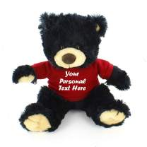 Plushland Black Noah Teddy Bear 12 Inch, Stuffed Animal Personalized Gift - Custom Text on Shirt - Great Present for Mothers Day, Valentine Day, Graduation Day, Birthday (Red Shirt)