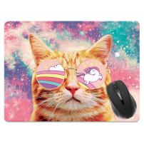 Extra Large (X-Large) Size Non-Slip Rectangle Mousepad, FINCIBO Unicorn Cat with Glasses Mouse Pad for Home, Office and Gaming Desk
