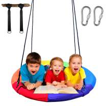 """Giant 40"""" Flying Saucer Tree Swing Set 900D Oxford Waterproof Frame Bonus Adjustable Hanging Ropes Easy Install, Steel Frame, Accessories Included, 2 Years Warranty(Rainbow)"""
