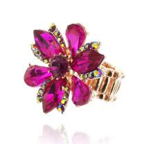 SP Sophia Collection Five Petal Flower Stretch Adjustable Ring Embellished with Round Marquise and Tear Drops