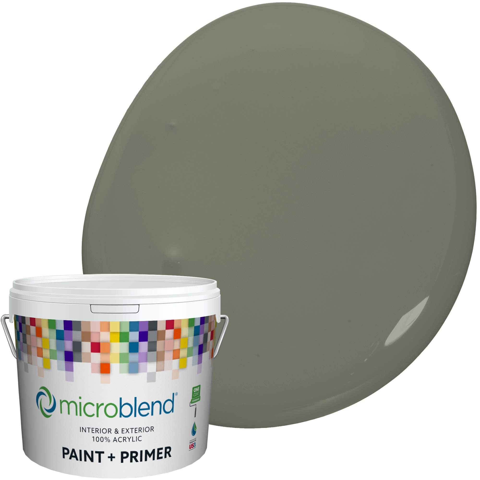 MicroBlend Interior Paint + Primer, Rocky Mountain, Flat Sheen, 1 Gallon, Custom Made, Premium Quality One Coat Hide & Washable Paint (73213-2-M1522B5(C))