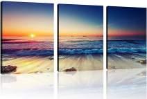 "TutuBeer 3 Panels Beach Home Beach Decor Beach Wall Art Beach Decor for Home White Ocean Beach Sunrise with Deep Blue Sky Beach Pictures Beach Art for Wall Beach Art Wall Decor 12"" x 16"" x 3 Pieces"