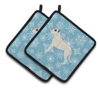 Caroline's Treasures BB3567PTHD Winter Snowflake Dogo Argentino Pair of Pot Holders, 7.5HX7.5W, Multicolor