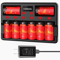 FARSAIL 8-Pack 700mAH Replace CR123A Lithium Batteries and 8-Port Charger for Arlo VMC3030 VMK3200 VMS3130 3230C 3430 3530 Wireless Security Cameras, Flashlight and more