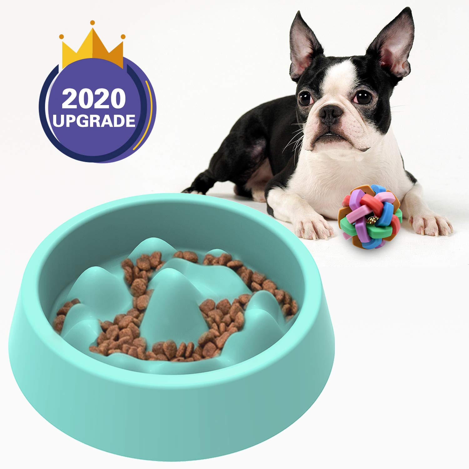 Dimgogo Slow Feeder Dog Bowls, Dog Food Bowl Slow Eating Dog Bowl Interactive Bloat Stop Dog Bowls Non Slip Puzzle Bowl Preventing Choking Healthy Dogs Cats Bowl Come with Free Puppy Dog Chew Toys