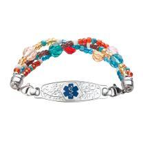 Divoti Custom Engraved Medical Alert Bracelets for Women, Stainless Steel Medical Bracelet, Medical ID Bracelet w/Free Engraving – Beautiful Olive Tag w/Tri-Strand Crystal Blue – Color/Size