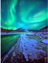 5D DIY Diamond Painting Aurora Borealis Winter Full Drill by Number Kits, Scenery Craft Decor by SKRYUIE, Paint with Diamonds Embroidery Set DIY Craft Arts Decorations (12x16inch)