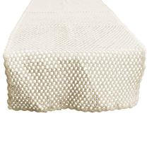 KEPSWET Simple Cotton Hollow Out Handmade Crochet Rectangle Table Runner Everyday Decor (14x72 inch, Beige)