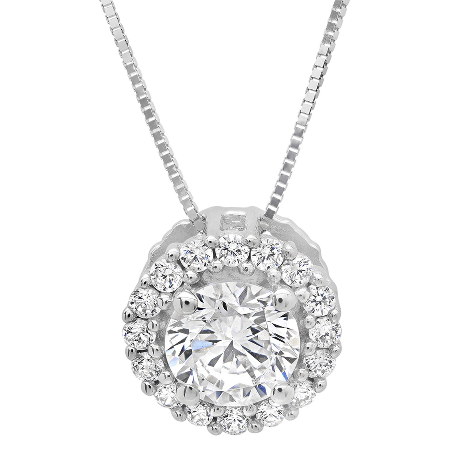 "Clara Pucci 1.2 CT Brilliant Round Cut Pave Halo 14K White Gold Pendant Box Necklace + 16"" Chain"
