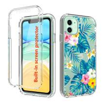 JanCalm Case for iPhone 11 with Built-in Screen Protector,Clear iPhone 11 Case Cover Bumper Anti-Scratch Design,Protective Drop Shockproof Full Body Designed for iPhone 11 Phone Case (Flower)