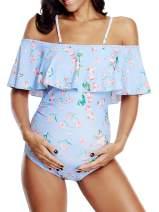 Zando Women's Maternity Swimsuit 1 Piece Pregnancy Beach Swimwear Plus Size Bathing Suits Maternity Tankini Swimsuits