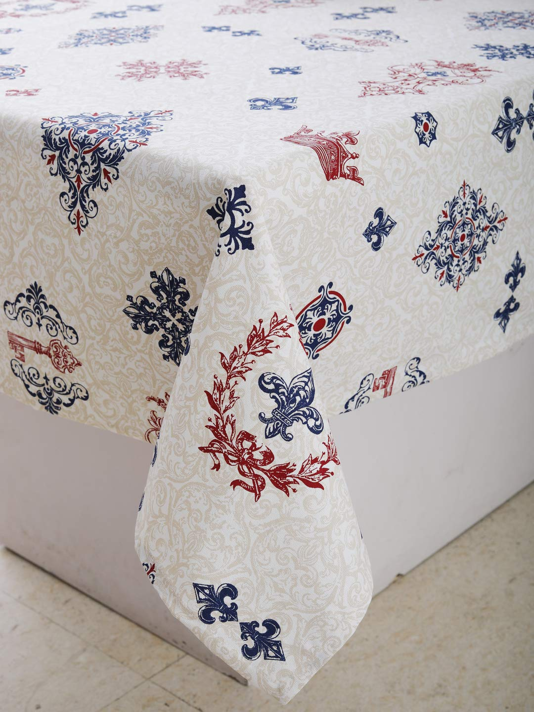 """Table Cloth - Royal Vintage, 100% Cotton, Rectangular Table Cloth of Size 60""""X102 Inch, Eco - Friendly & Safe."""
