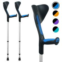 ORTONYX Forearm Crutches 1 Pair - Ergonomic Handle with Comfy Grip - High Density Sturdy Aluminum - 308lb Max / 200913