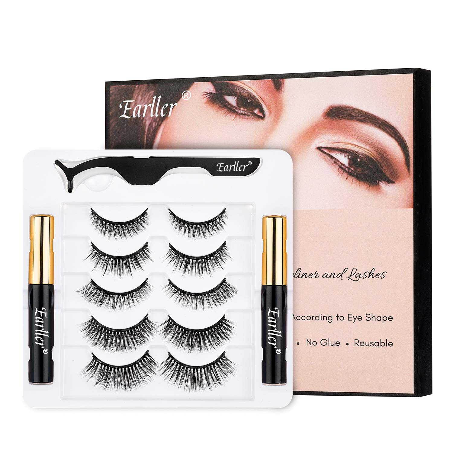EARLLER Upgraded Magnetic Eyelashes with Eyeliner Kit, 5 Pairs Natural Look Full Eye Magnetic False Lashes With Applicator - Waterproof, Easy to Apply and No Glue Needed Eyelashes Set