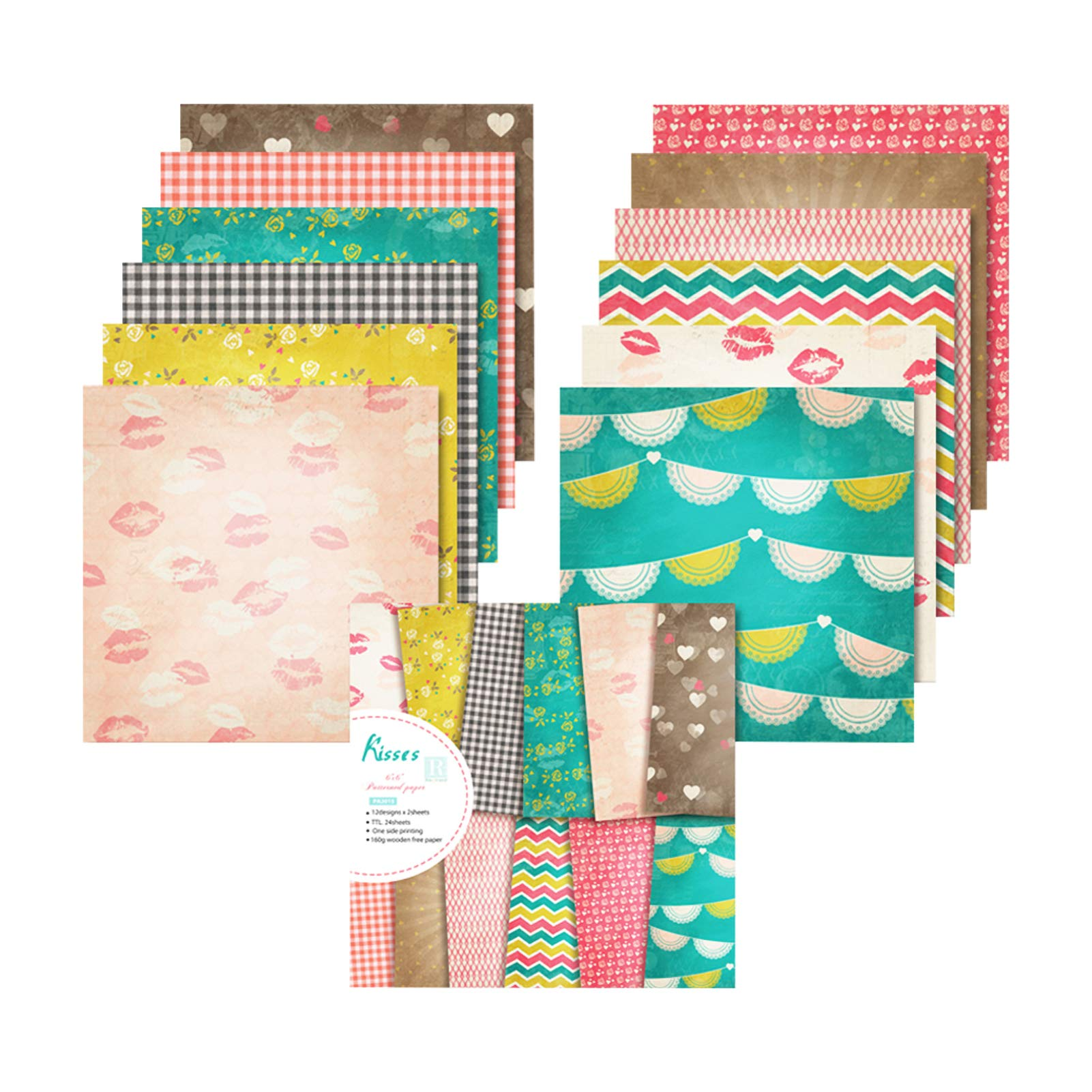 """YARUMI Pattern Paper Pack for Cardmaking,Pack of 24 Valentines Day Love Patterned Paper Pad,12 Designs Single-Sided 6""""x6"""" Wedding Album Scrapbook Paper Bright Colors Cardstock Recipe Decorative Pages"""