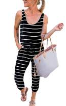Angashion Women's Jumpsuits-Camouflage Striped Solid Casual Loose Sleeveless Elastic Waist Long Pants Rompers with Pockets