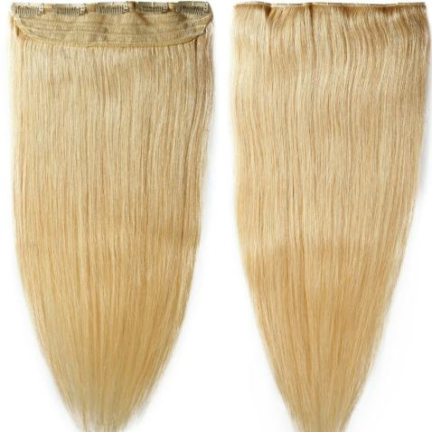 S-noilite 18inch 90g Real Human Hair Clip in Extensions One Piece 3/4 Full Head 5 Clips Invisible Straight Thick Clip on Hair Extensions for Women #613 Bleach Blonde