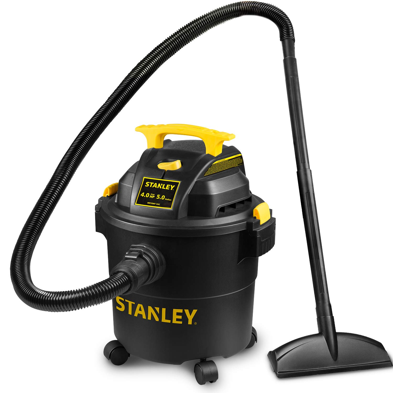 Stanley Shop Vac SL18115P, 5 Gallon Peak 3 Horsepower Wet Dry Vacuums, Blower 3 In 1 Functions 20 Feet Cleaning Range For Garage, Carpet Clean, Shop Cleaning, Car Detailing with Attachments