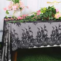 ShinyBeauty Lace Party Tablecloth Rustic Floral Fabric Rectangle Lace Table Cloth Baby Tablecloth Tea Party Tablecloth Fabric Table Cover (1, Black-016)