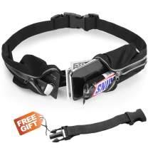 homtuzan Adjustable Running Belt Waist Fanny Pack Zipper Dual Pockets Money Belt Phone Holder for iPhone X 6 7 8 Plus Waist Bag Fitness Pouch Reflective Sweat Proof Water-Resistant No-Bounce